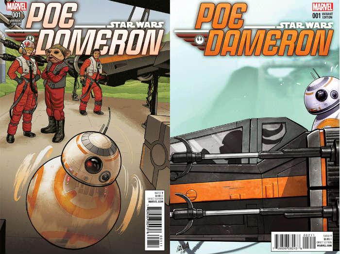 Variantes de la portada del primer cómic de 'Poe Dameron'