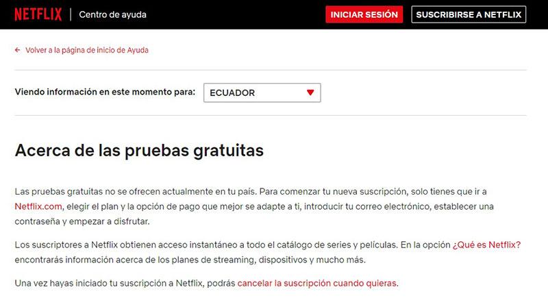Netflix retira el periodo de prueba gratuito en Ecuador y otros países