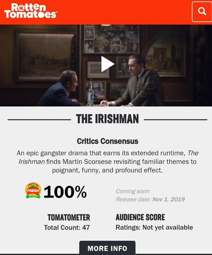 El nuevo film de Martin Scorsese, 'The Irishman', ya es considerado una obra maestra