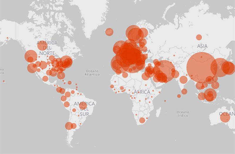Microsoft lanza mapa interactivo con la evolución del coronavirus